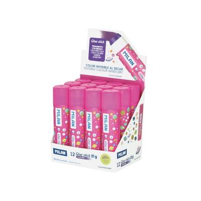 Milan Сухо лепило, 21 g, розово, в дисплей, 12 броя, опаковка 24