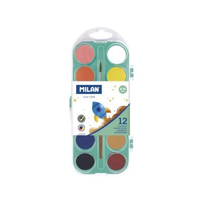 Milan Акварелни бои, 30 mm, 12 цвята, с включена четка, опаковка 12