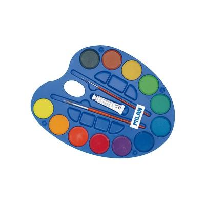 Milan Акварелни бои, в палитра, 45 mm, 12 цвята, с включени 2 четки, опаковка 12