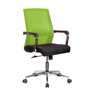 RFG Работен стол Roma W, дамаска и меш, черна седалка, светлозелена облегалка