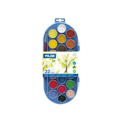 Milan Акварелни бои, 30 mm, 22 цвята, с включена четка