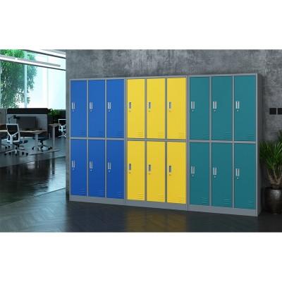 RFG Гардероб, метален, троен, с шест клетки, 90 x 45 x 185 cm, сив корпус, врати с тюркоазен цвят