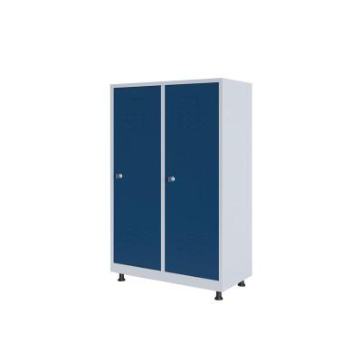 RFG Гардероб, метален, двоен, с две врати, 80 х 40 х 120 cm, бял, със сини врати