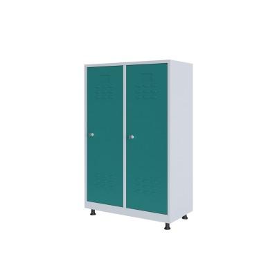 RFG Гардероб, метален, двоен, с две врати, 80 х 40 х 120 cm, бял, с тюркоазени врати