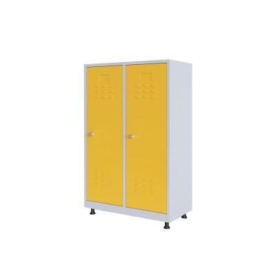 RFG Гардероб, метален, двоен, с две врати, 80 х 40 х 120 cm, бял, с жълти врати