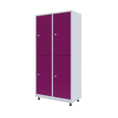 RFG Гардероб, метален, двоен, с четири врати, 80 х 40 х 160 cm, бял, с лилави врати