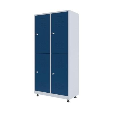 RFG Гардероб, метален, двоен, с четири врати, 80 х 40 х 160 cm, бял, със сини врати