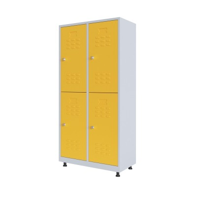 RFG Гардероб, метален, двоен, с четири врати, 80 х 40 х 160 cm, бял, с жълти врати