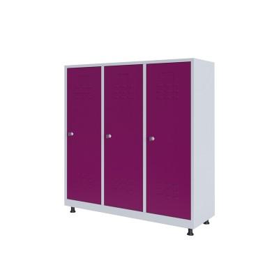 RFG Гардероб, метален, двоен, с три врати, 120 х 40 х 120 cm, бял, с лилави врати