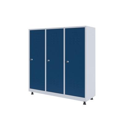 RFG Гардероб, метален, двоен, с три врати, 120 х 40 х 120 cm, бял, със сини врати