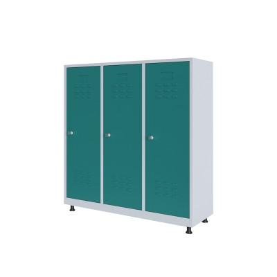 RFG Гардероб, метален, двоен, с три врати, 120 х 40 х 120 cm, бял, с тюркоазени врати