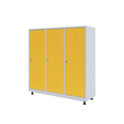 RFG Гардероб, метален, двоен, с три врати, 120 х 40 х 120 cm, бял, с жълти врати