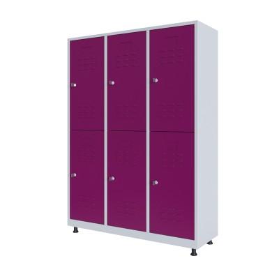 RFG Гардероб, метален, двоен, с шест врати, 120 х 40 х 160 cm, бял, с лилави врати