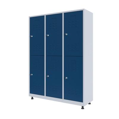 RFG Гардероб, метален, двоен, с шест врати, 120 х 40 х 160 cm, бял, със сини врати