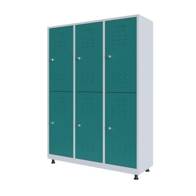 RFG Гардероб, метален, двоен, с шест врати, 120 х 40 х 160 cm, бял, с тюркоазени врати