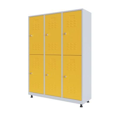 RFG Гардероб, метален, двоен, с шест врати, 120 х 40 х 160 cm, бял, с жълти врати