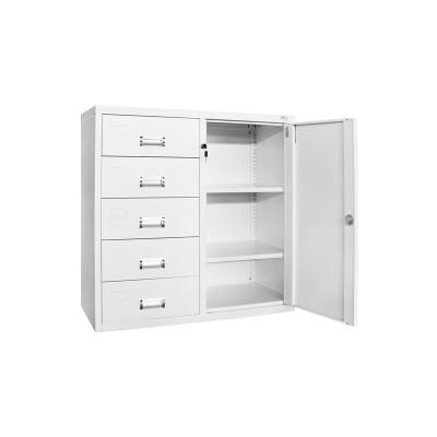 RFG Кардекс, метален, 1 x 5 чекмеджета, с шкаф, 90 х 40 х 90 cm, бял